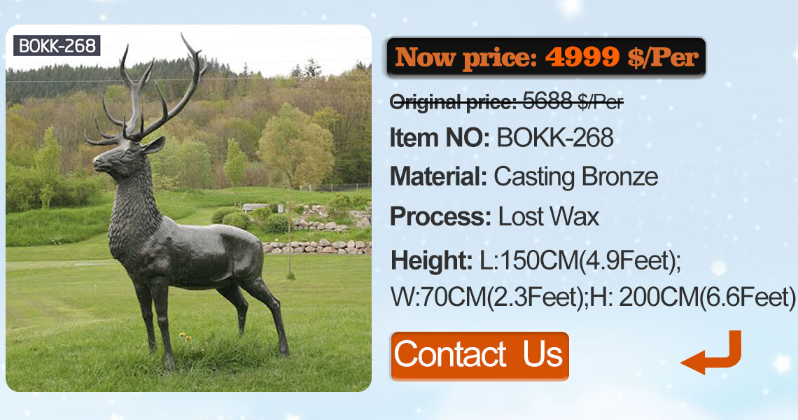 bronze christma deer garden statue design