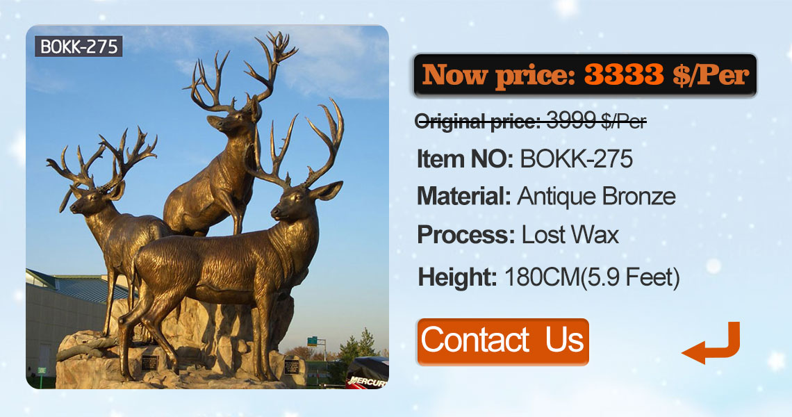modern decoration bronze stag outdoor sculpture for garden decor