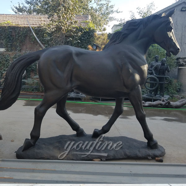 Life size outdoor bronze black standing horse sculptures for garden decor