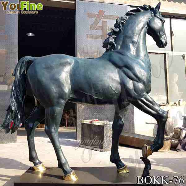 Life Size Bronze Standing Horse Statue Sculpture for Outdoor Garden BOKK-76