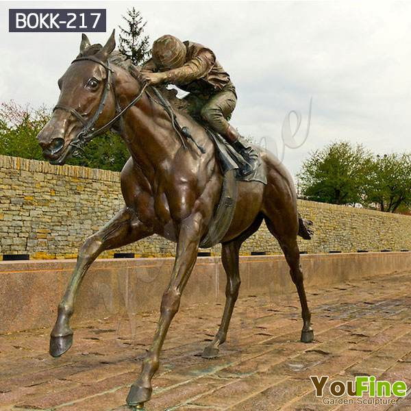 High Quality Bronze Racing Horse Statue with gentleman Sculpture for Garden BOKK-217