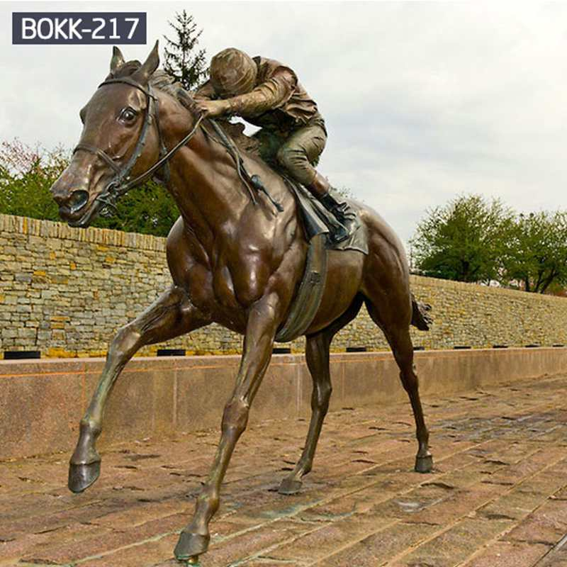 High Quality Bronze Racing Horse Statue with gentleman Sculpture for Garden