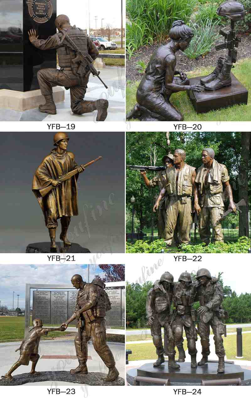 Military Casting Bronze Kneeling Soldier Statue Related