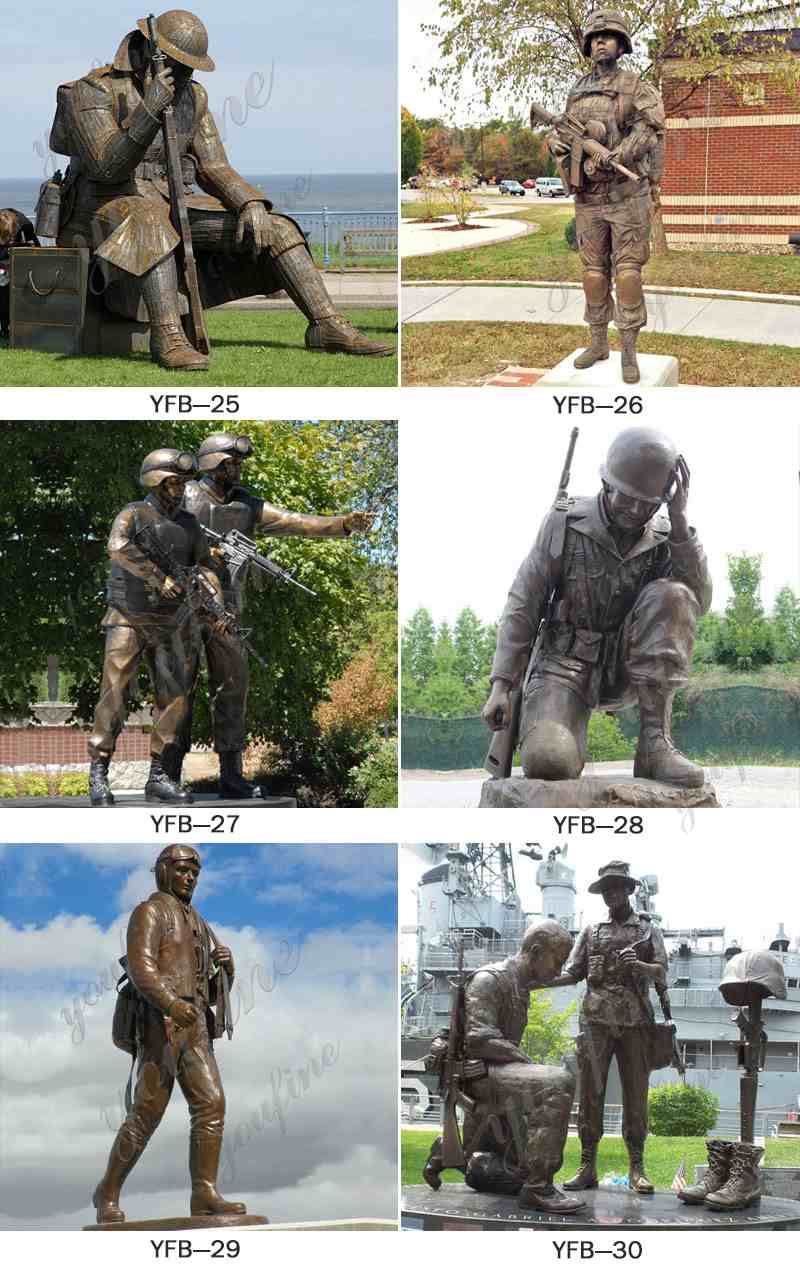 Military Casting Bronze Kneeling Soldier Statue Significance