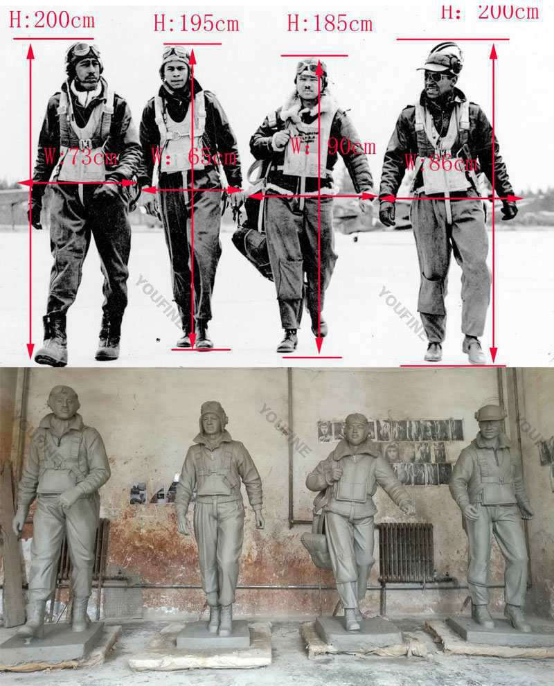 Outdoor Life Size Bronze Military Statue Lawn Ornaments Molds