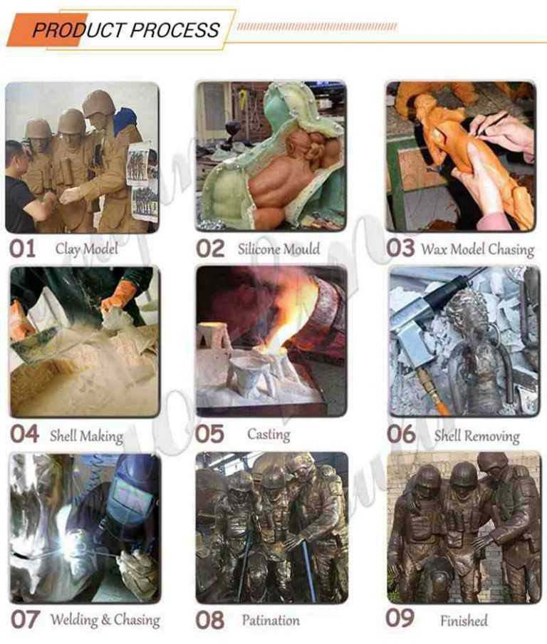 process-of-Outdoor Life Size Bronze Military Statue Lawn Ornaments for Sale