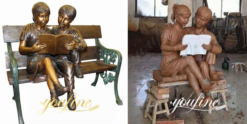 Custom Bronze Boy and Girl Reading Books Garden Statue for Sale BOKK-724 Clay Mold