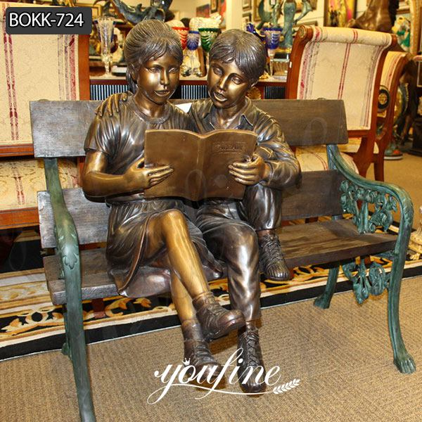 Custom Bronze Boy and Girl Reading Books Garden Statue for Sale BOKK-724