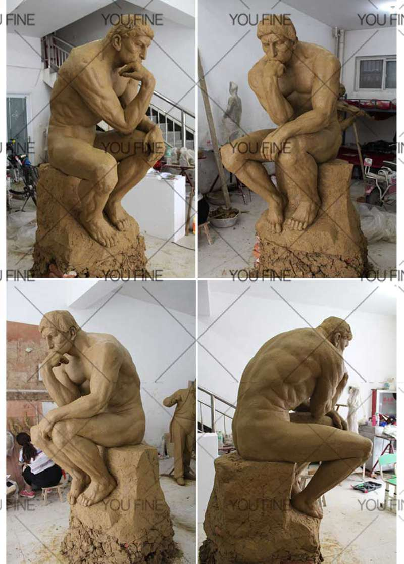 Famous Classic Bronze the Thinker Statue Garden Decor Clay Molds