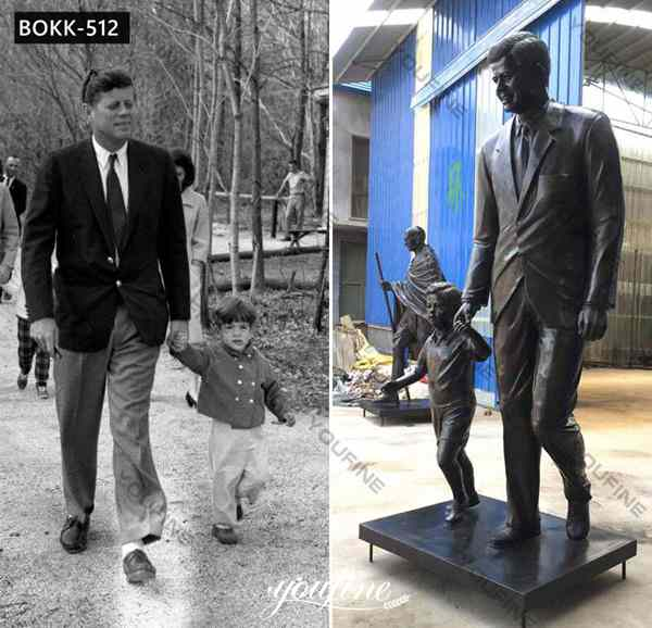 Antique Bronze Custom Statue Of Yourself Kennedy with Child for Sale BOKK-512