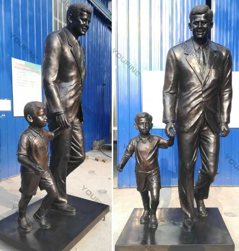 Antique Bronze Custom Statue Of Yourself Kennedy with Child for Sale BOKK-512 Details